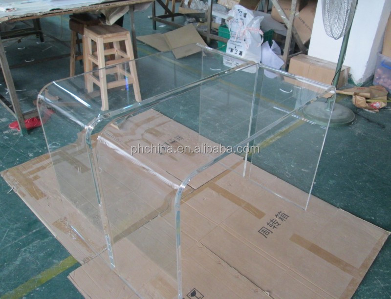 Clear Acrylic U Shape Table Acrylic Waterfall Console Table