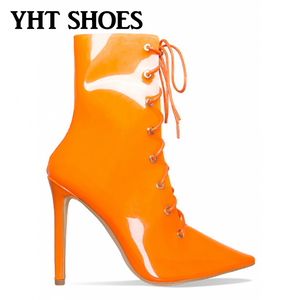 Summer sandals 2018 pointed toe high heel orange transparent clear boots