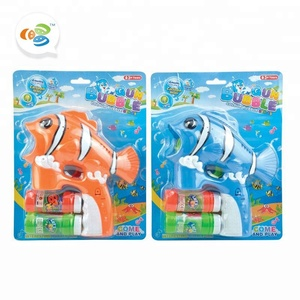 water tight electric clown fish shape light music bubble maker toy for wedding