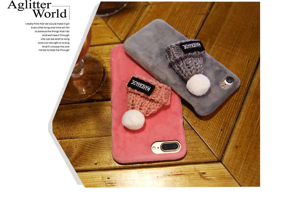 knitted christmas cap plush cell phone case for iphone 7 plus