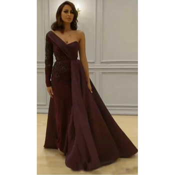 96855b21804 Middle East Women Evening Dress Dark Red Long Sleeve Satin Overskirt Prom  Gowns