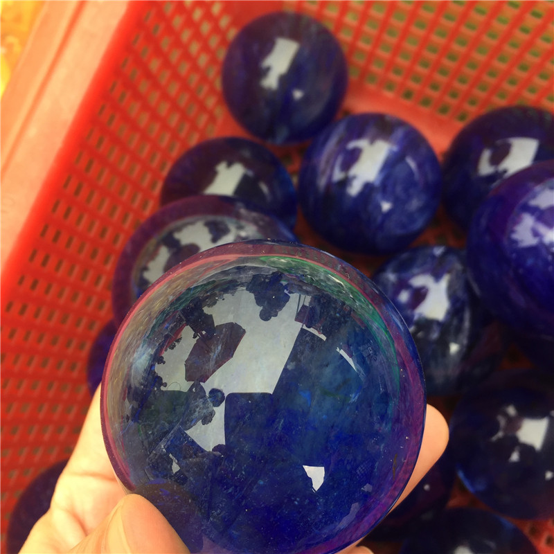 Wholesale fire natural blue  melting stone quartz crystal ball for decoration
