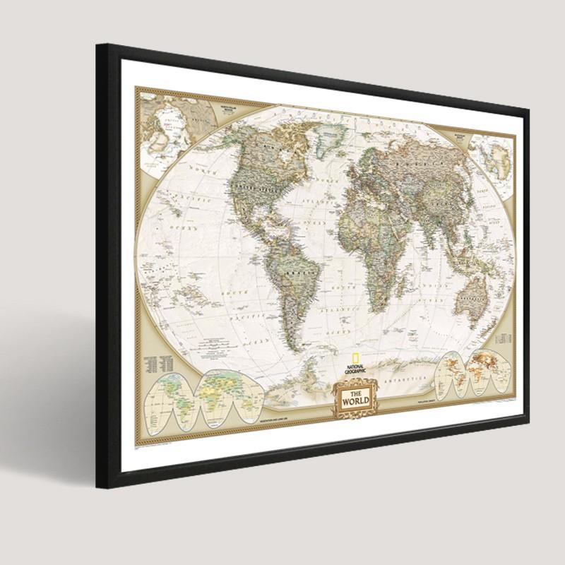 moderne populaire wereldkaart abstract schilderij op doek. Black Bedroom Furniture Sets. Home Design Ideas
