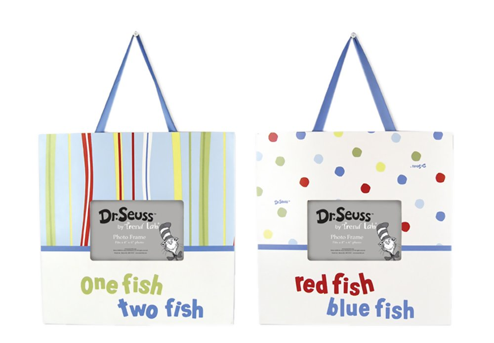 Trend Lab Infant Nursery Newborn Baby Room Decorative Photo Display Dr. Seuss One Fish Two Fish Picture Frame Set