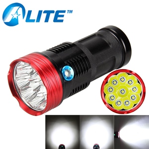 10 xml t6 led 18650 battery powered tactical 8000 lumen led flashlight