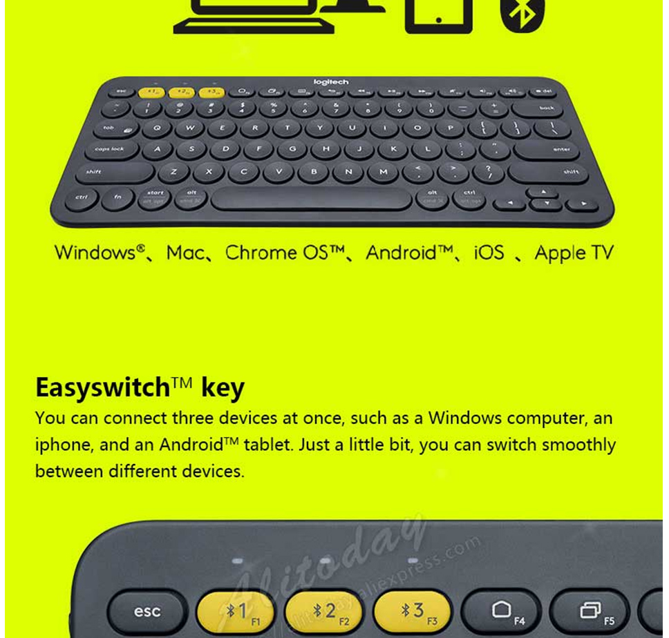 Logitech K380 Multi-Device Bluetooth Keyboard Wireless Connectivity  Compatible With Computer Tablet Smartphone Smart TV