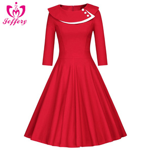 Hepburn retro style palace splendid Pluto dress long sleeve A christmas light up party dress