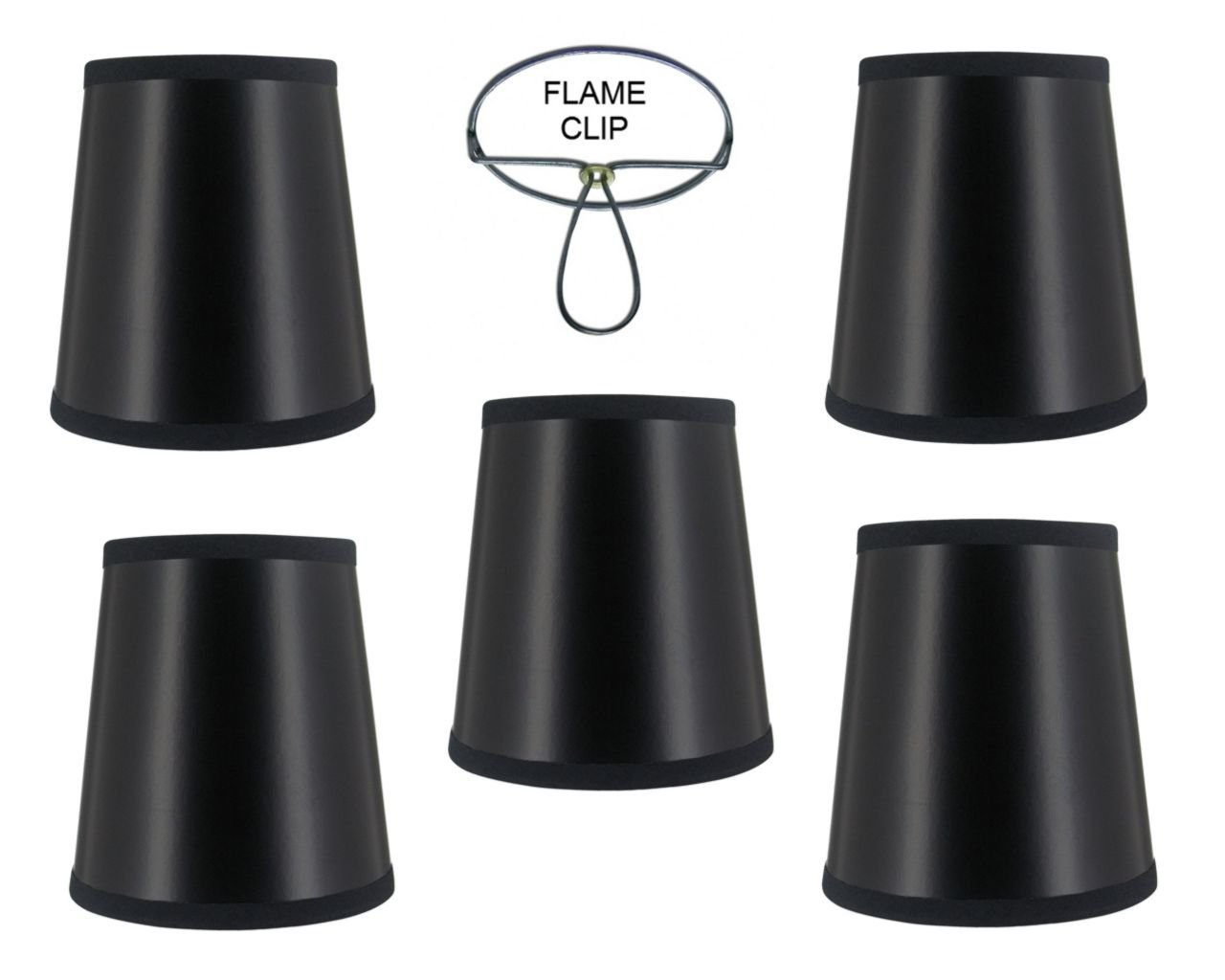 Mini Chandelier Shades Clip On Small Lamp shades set of Five black paper gold lining