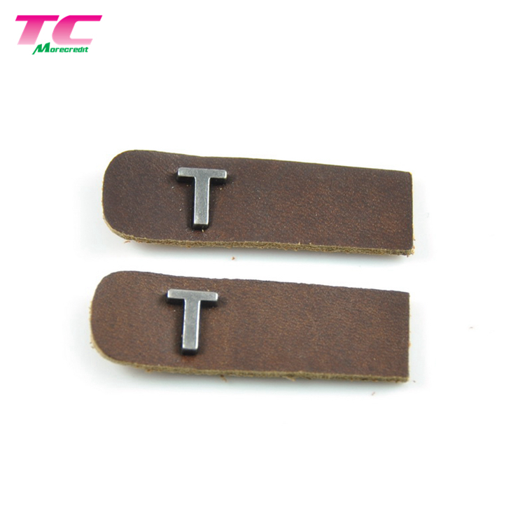 Hot Sale Genuine Jeans Garment Leather Labels With Metal logo, Custom Metal Plate Leather Patch For Jeans