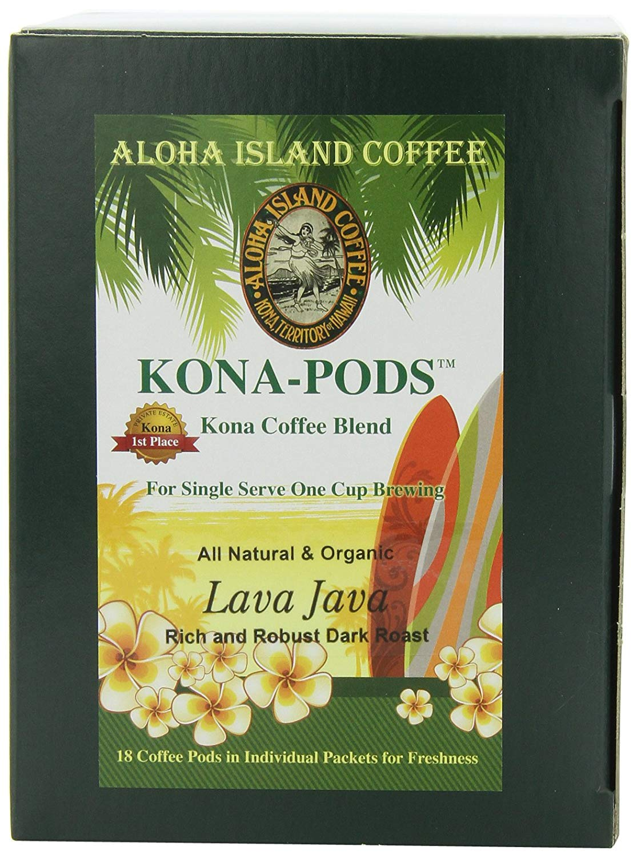 Aloha Island Coffee KONA-POD, Lava Java Dark Roast, Kona & Hawaiian Coffee Blend, 18-Count Coffee Pods