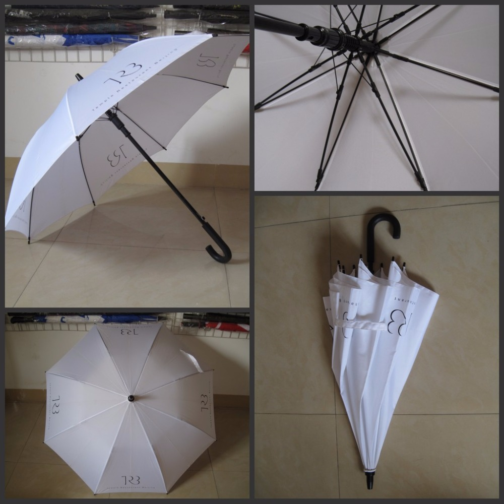 rubber hook handle custom logo large white wedding umbrella for rain