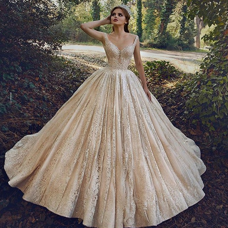 Lace Beaded Champagne Wedding Dress Women Elegant Ball Gown Illusion