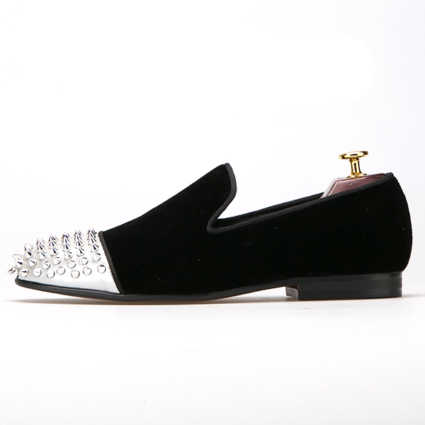 with and Luxurious Rivets Metal Men Shoes Party Toe Dress qSxISwp4