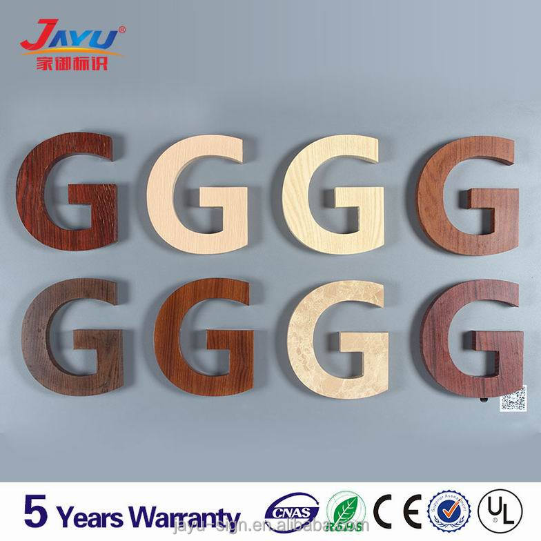 2016 new metal letter backlit signs wooden color alphabet letters