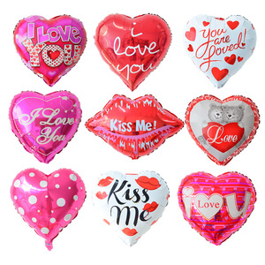 Valentine's Day Foil Heart Shaped 18 inch helium mylar balloon for festival