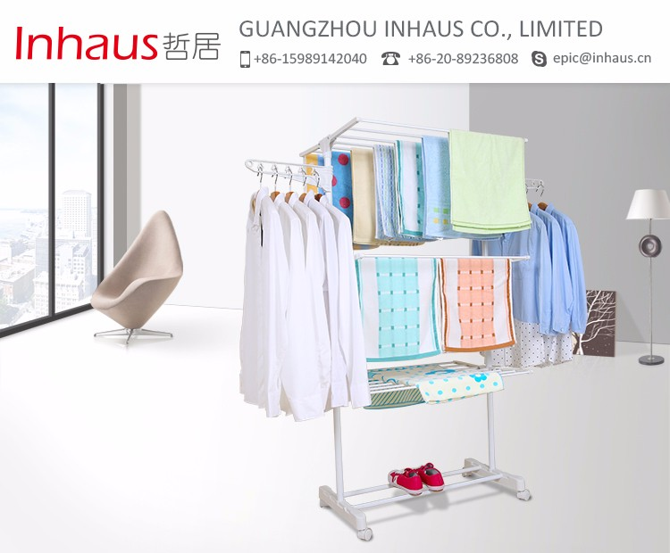 Laundry Room Three Layer Stainless Steel Cloth Rack Standing Mobile
