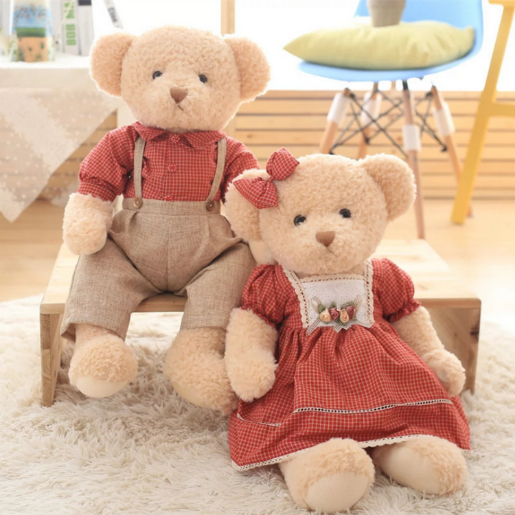 Classic design jointed <strong>plush</strong> dressed up teddy girl and teddy boy couple teddy bear toy
