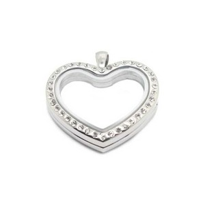 Heart Shaped Stainless Steel Floating Charm Locket