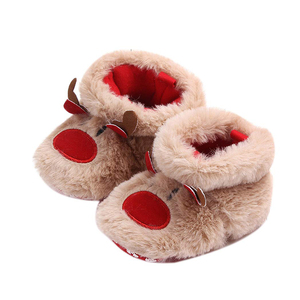 custom Christmas washable indoor shoes plush animal reindeer slipper baby girl winter boots