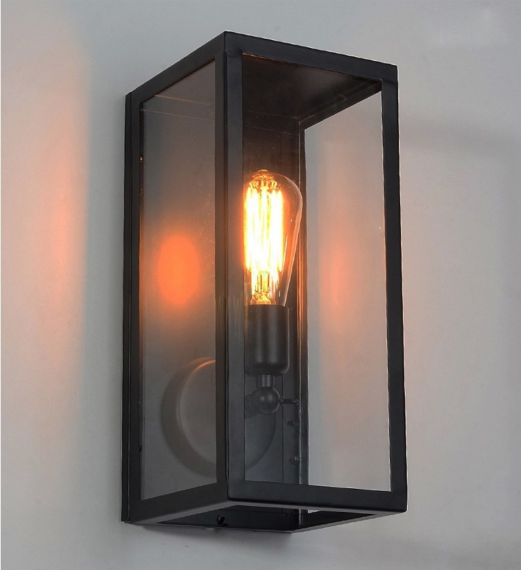 Wall Sconce Clear Class Cover Outdoor Wall Light Metal