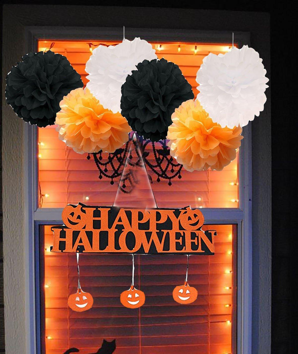 Furuix 10pcs HAPPY HALLOWEEN Window Decoration Pumpkin Pendant Door Decor Hanging Halloween Party Decoration - Halloween Banner White Black Orange Tissue Pom Pom Paper Flower