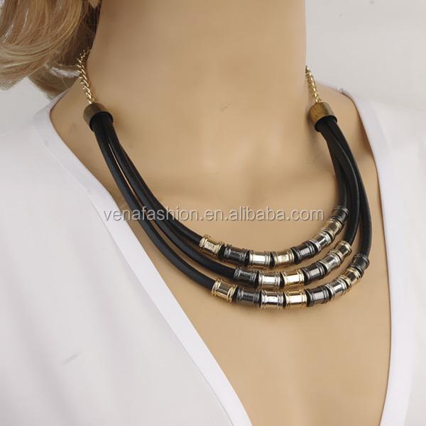 Long Tassel Plain Dubai Gold Jewelry NecklaceUnique Gold Necklaces