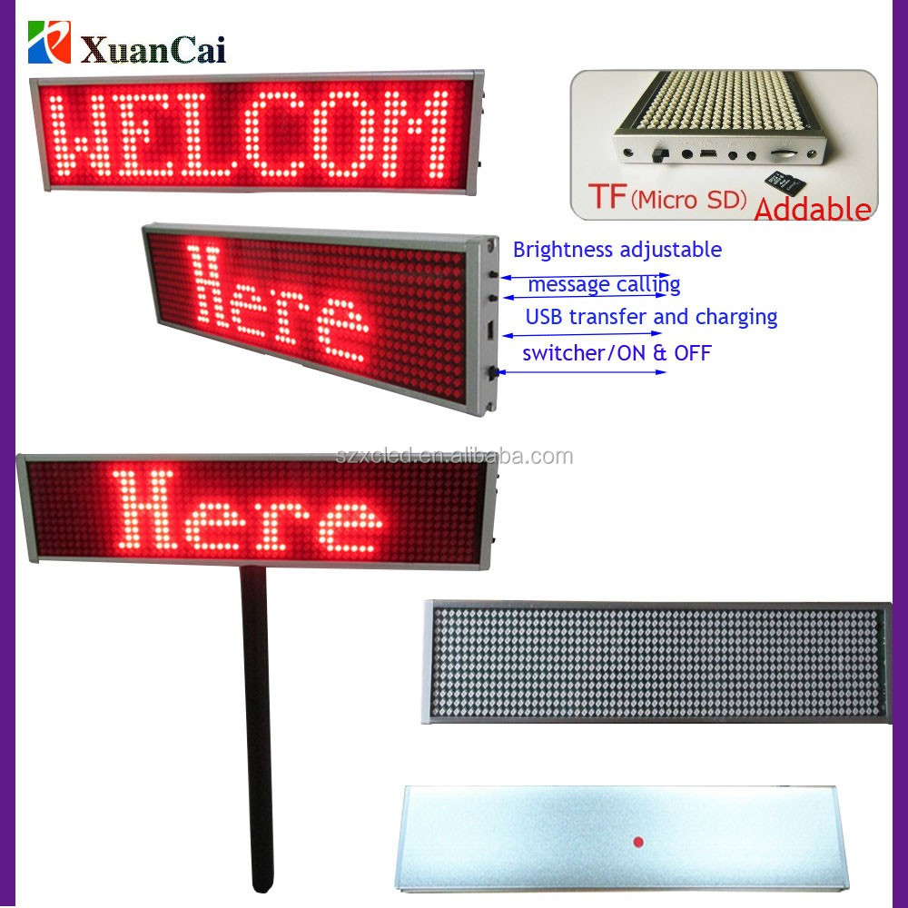 Cheap 20% Hand held built in lithium battery High Brightness Red dot matrix LED Placard paging board