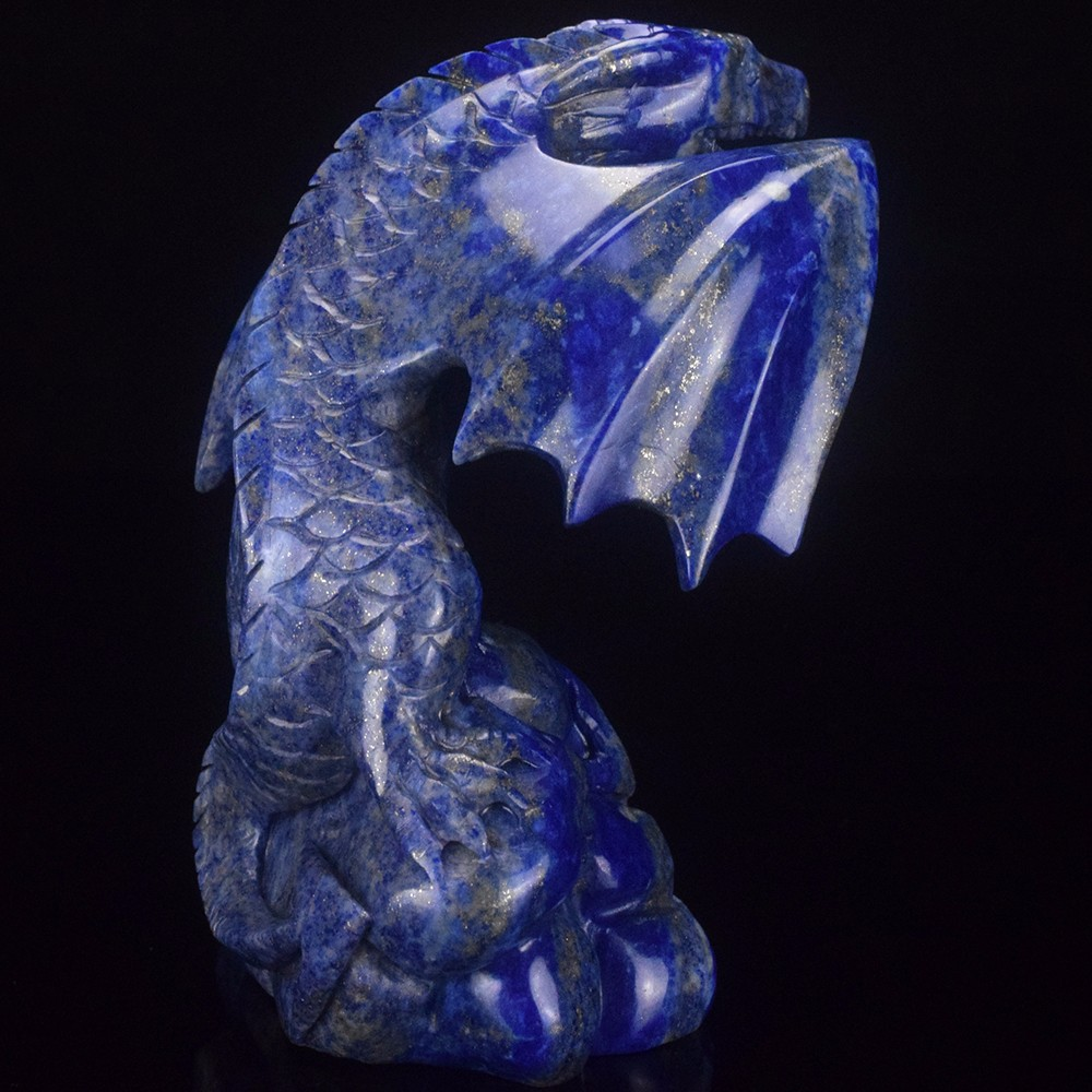 wholesale 5' natural carved lapis lazuli dragon carving craft, animals carving craft