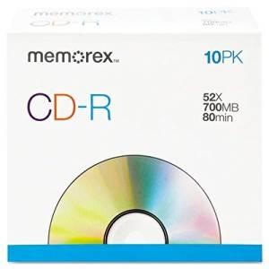 CD-R Discs 700MB/80min 52x w/Slim Jewel Cases Silver 10/Pack CD-R Discs, 700MB/80min, 52x, w/Slim Jewel Cases, Silver, 10/Pack