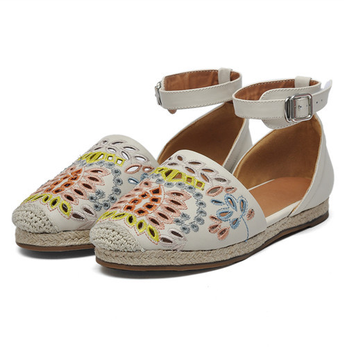 2015 Women Genuine Leather Mary Jane Flats Ankle Strap Cut-out Embroidery Round Toe Summer Style Boat Shoes Slip on Sandals Hot