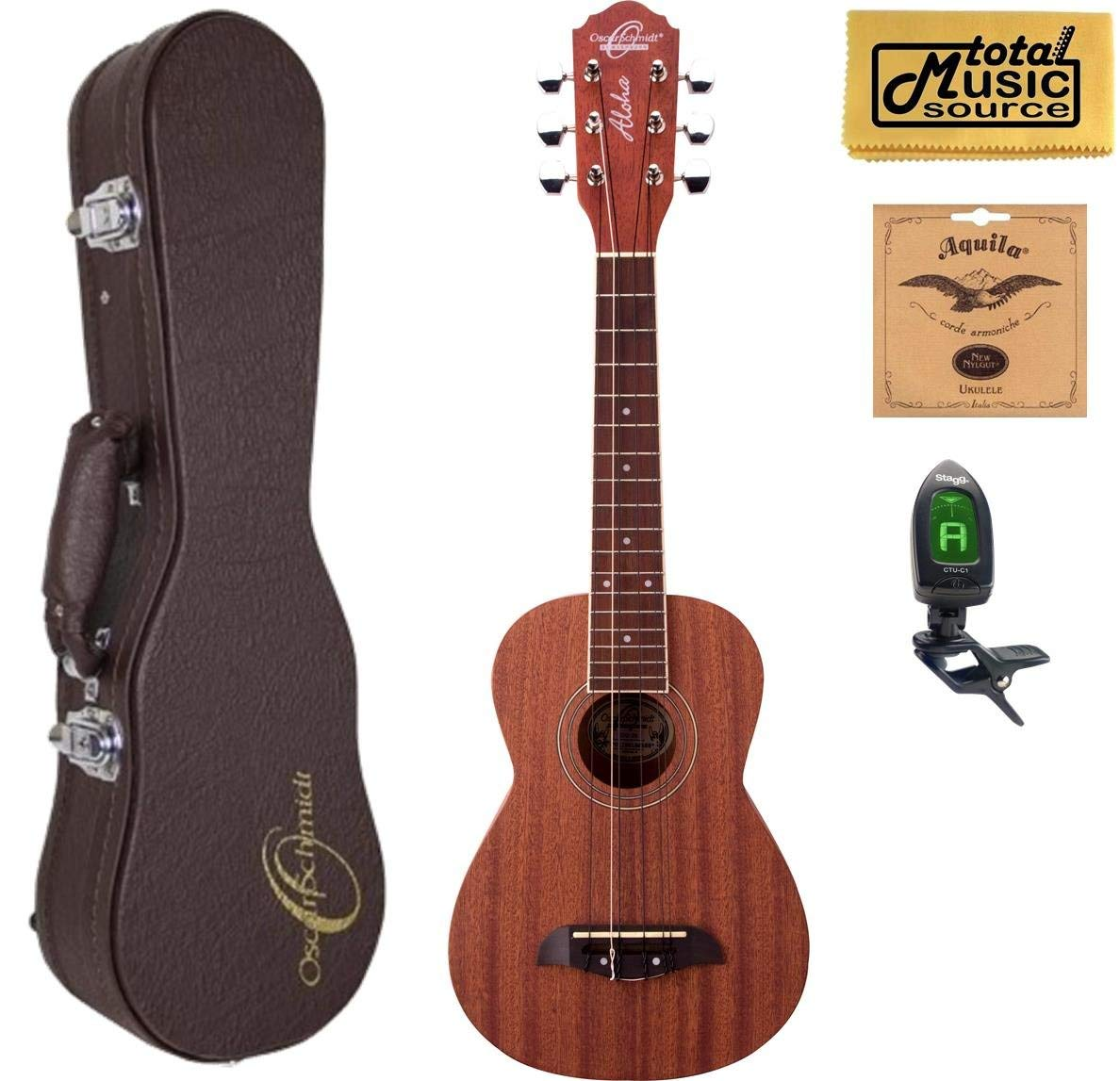 Oscar Schmidt OU26T 6-String Tenor Ukulele, Mahogany Body, Satin Finish, Includes TMS Polishing Cloth, Oscar Schmidt Hardshell Case, Profile Digital Clip-On Tuner and Extra Set of Aquila 17U Strings
