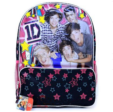 "One Direction School Backpack 16"" Large Bag -1D Harry Zayn Liam Stars"
