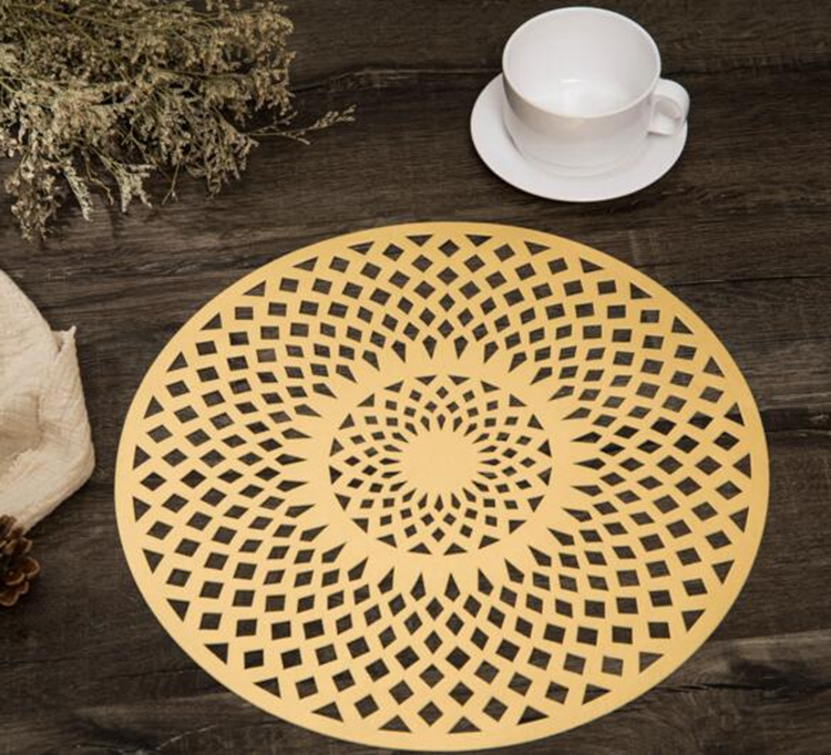 European gilding hollowed-out pattern PVC heat protection dinner table mat multi-style round dining pvc table mat