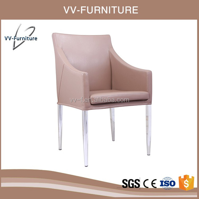 Foshan furniture office home dining chrome metal legs chair armrest