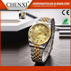High Quality Stainless Steel Back Day/Date Geneva Watch Gold Diamond Watch Men 2016