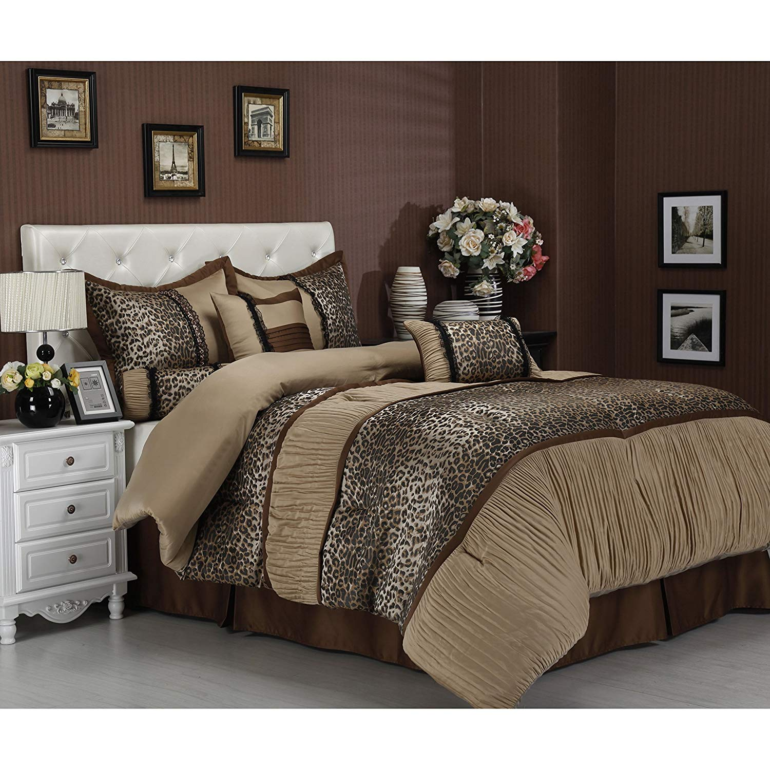 7 Piece Exotic Leopard Print Comforter Set Full Size, Featuring Wild Printed Tiger Design Ruched Texture Premium Bedding, Luxury High End Modern Chic Cozy Bedroom, Brown, Black, Beige