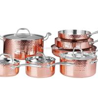 stainless steel cookware set 13pcs copper pan