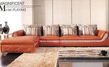 new big size orange leather sofa P205