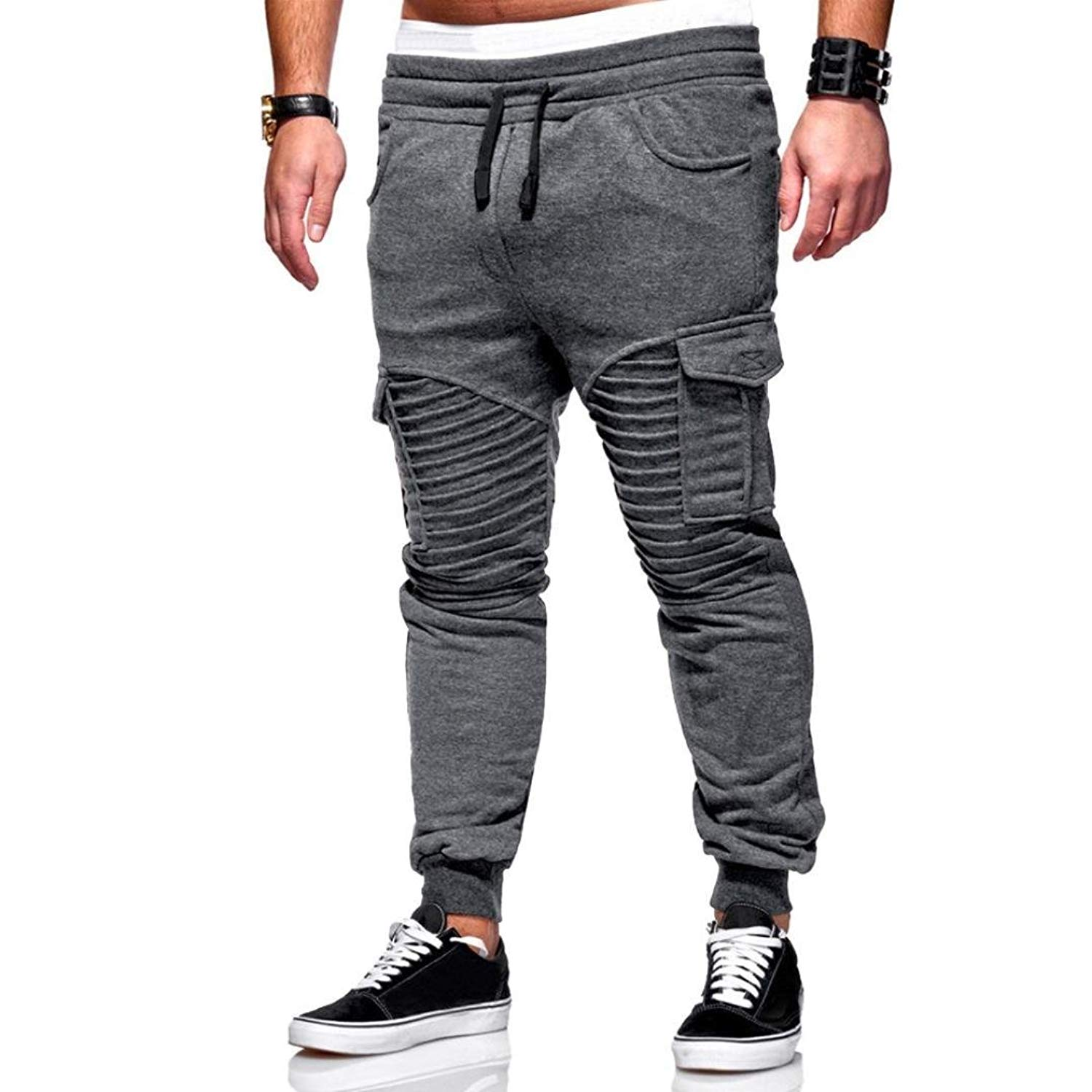 Men Cargo Joggers, Male Casual Sweatpants Baggy Trousers Elastic Solid Slacks Pants with Pockets