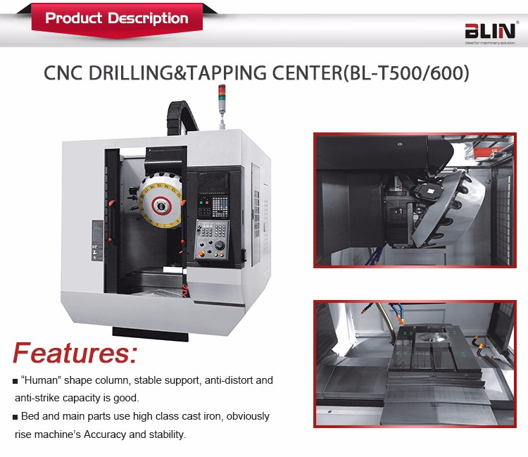 BL-T500/T600 Ningbo Vertical Drilling And Tapping Machine Center /high Quality Cnc Drilling Machine Price