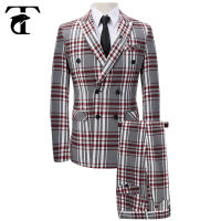 Double Breasted Mens Plaids Groom Suit