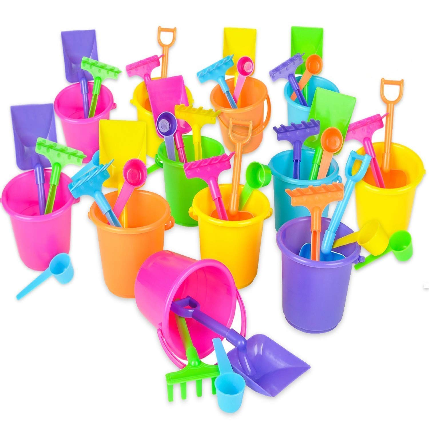 "Beach Bucket and Shovel Set - (Pack of 12) Party Favor Sand Box Play Set and Beach Sand Pail Includes 3-1/4"" Mini Bucket, Shovel, Rake, Scoop Beach Sand Toy for Birthday Or Mermaid Theme"