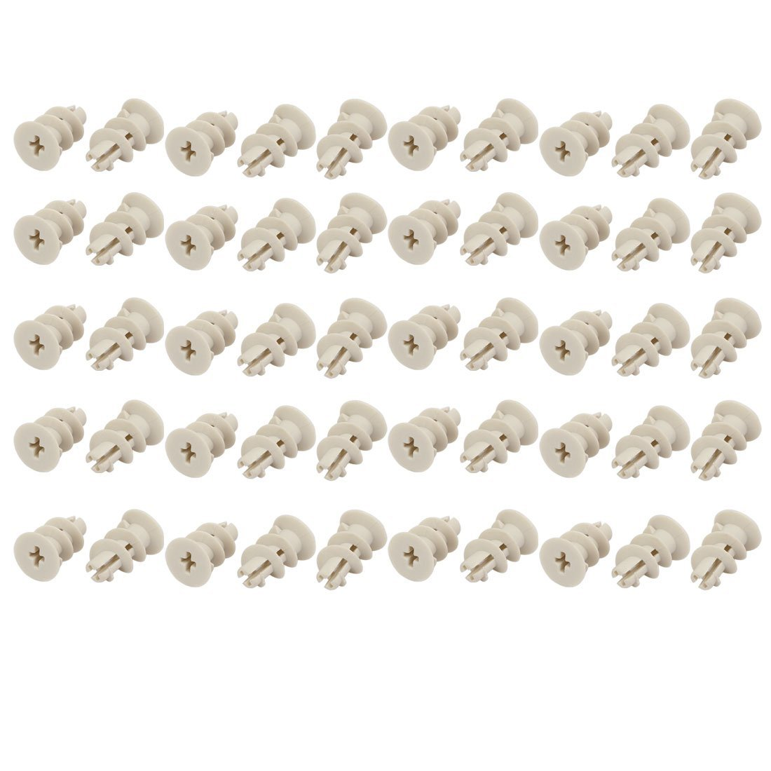 uxcell M4 x 30mm Screw Nylon Self Drilling Drywall Hollow-Wall Anchor 50 Sets