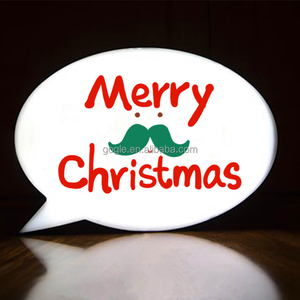 Christmas decoration light up message board white speech bubble led light box