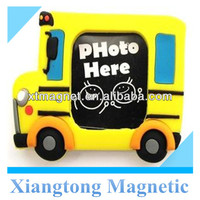 Beautiful And Funny Yellow Chunky School Bus Shape Fridge Magnet Photo Frame