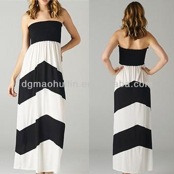 Cute Black And White Color Block Women Maternity Maxi Pregnant Prom ...