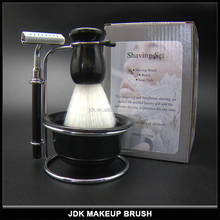 Wholesale cheap men's shave set with drip stand shaving brush razor and soap bowl