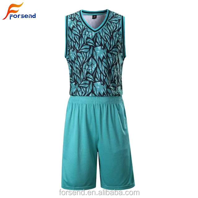 Lacustrine Blau Neue Design Custom 100% Polyester Full Digital Sublimation Druck Basketball Kleidung