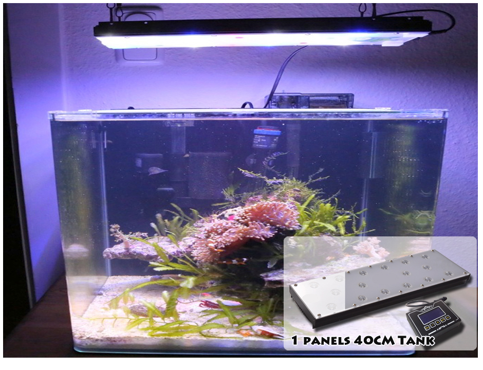 "400mm/15""/40Watt dimmable programmable Led aquarium light with non wifii controller, sunrise sunset lunar cycle"