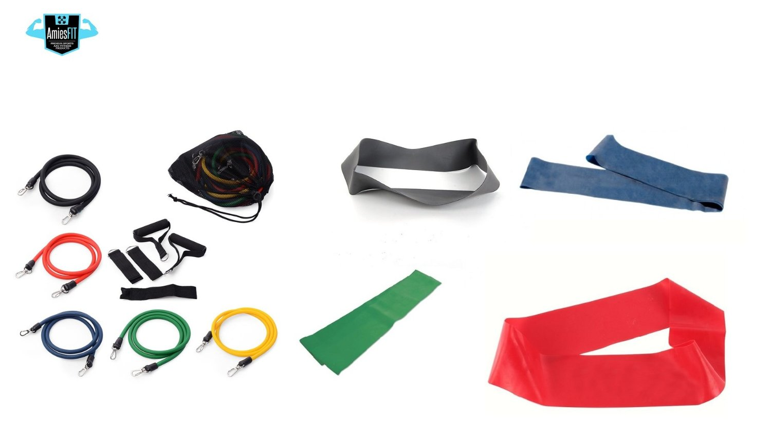 15pcs Heavy Duty Resistance Bands + Loop Exercise Band COMBO - 15Pcs Fitness Band Set includes Ankle Straps for Legs, Door Anchor, Handles, 4 Loops Bands - Crossfit, P90x, Home Gym, Travel + Therapy